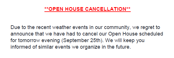 Open House Event Cancelled