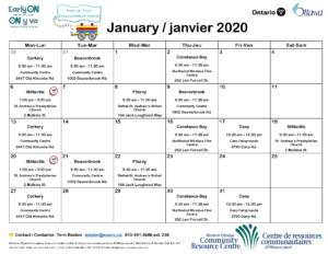 Horaire de joujouthèque mobile : L'hiver 2020