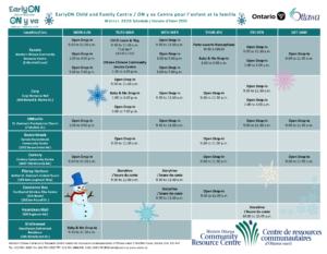 EarlyON Winter Calendar 2020