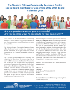 WOCRC Board Recruitment - 2020/2021 - Western Ottawa Community Resource Centre