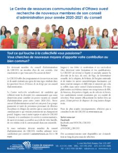 Le Centre de ressources communautaires d'Ottawa ouest recherche de nouveaux membres de son conseil d'administration pour année 2020-2021 du conseil