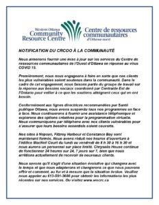 NOTIFICATION CRCOO A LA COMMUNAUTE-FR