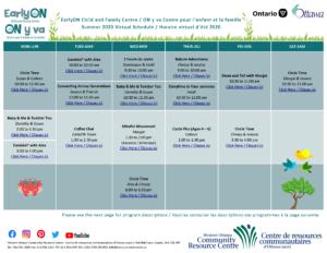 EarlyON Virtual Calendar Summer 2020