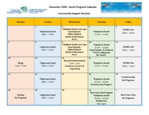 CSS Social Programs Calendar December 2020