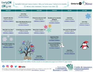 EarlyON Winter Calendar - Update 2