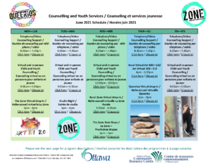 June 2021 Counselling and Youth Services Calendar