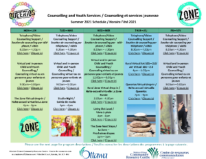 Summer 2021 Counselling and Community Services Calendar