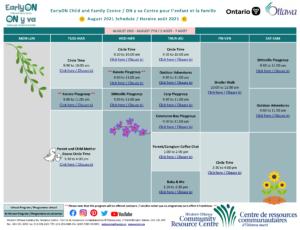 EarlyON Calendar - August 2021 - Page 1