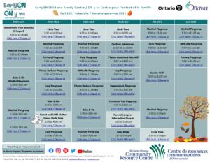 EarlyON Calendar - Fall 2021 - V2