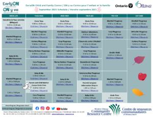 EarlyON Calendar - September 2021 Updated
